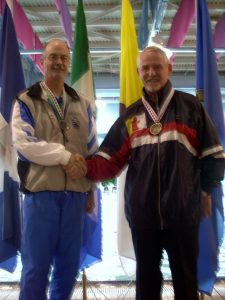 Nunavut's Fred O'Brien, right, took gold in the 50m breaststroke while Alberta's Mark Sandilands took silver at the2004 Canada Senior Games in Whitehorse